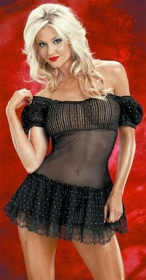 chemises camisoles lingerie - Babydoll has off shoulder design with lots of sparkle.