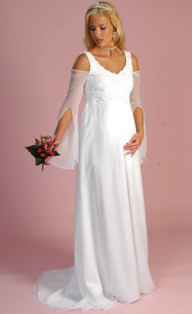 White maternal wedding gown