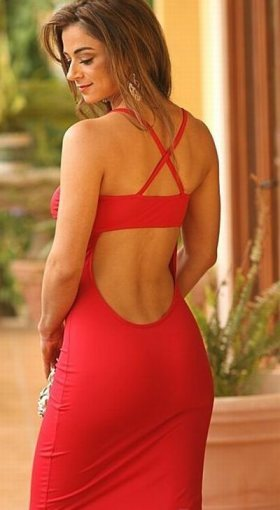 Red dress with strapeless bra and matching