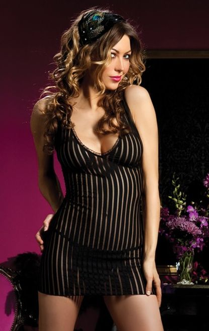 partly naked V-Neck Shadow Stripe Babydoll,Underwear  lingerie, Sensual mature young women underwear