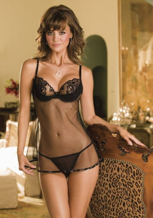 seethru camisole, bras and panties, Spicy black lingerie
